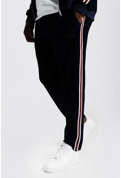 Navy Big & Tall Velour Joggers With Side Tape