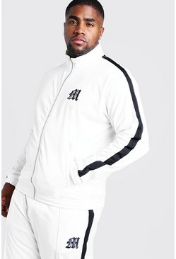 Mens White Big & Tall Tricot Jacket With Side Tape