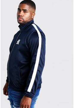 Navy Big & Tall Tricot Jacket With Side Tape