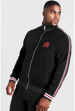 Black Big & Tall Velour Jacket With Side Tape
