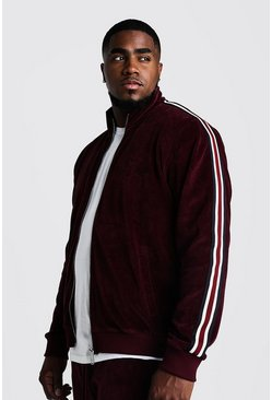 Burgundy Big & Tall Velour Jacket With Side Tape