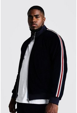 Mens Navy Big & Tall Velour Jacket With Side Tape