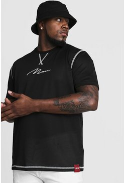 Herr Black Big & Tall Airtex T-Shirt With MAN Embroidery