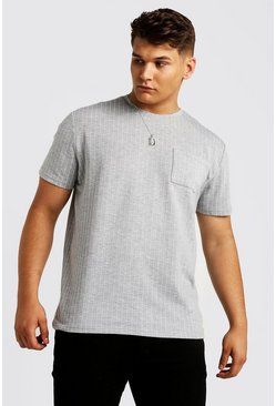 Mens Grey Big & Tall T-Shirt With Pinstripe