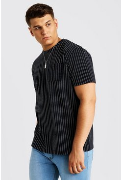 Mens Navy Big & Tall T-Shirt With Pinstripe