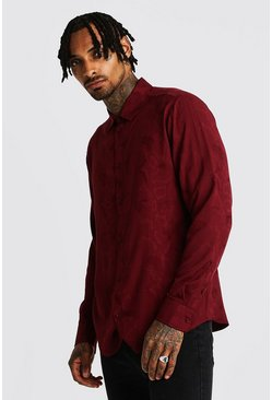 Mens Burgundy Jacquard Snake Long Sleeve Shirt