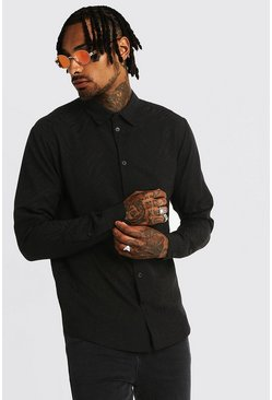 Mens Black Jacquard Animal Long Sleeve Shirt