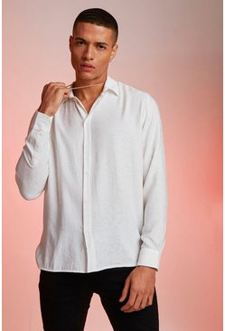 Mens White Jacquard Leopard Long Sleeve Shirt