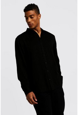 Mens Black Jacquard Leopard Long Sleeve Shirt