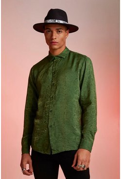 Mens Khaki Metallic Jacquard Animal Long Sleeve Shirt