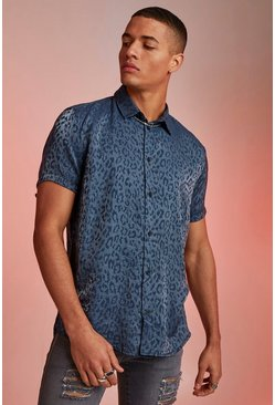 Teal Metallic Jacquard Animal Short Sleeve Shirt