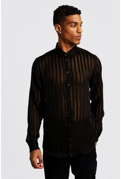 Mens Black Semi Sheer Vertical Stripe Long Sleeve Shirt