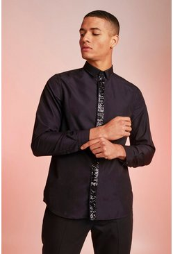 Black Smart Long Sleeve Shirt With Sequin Placket