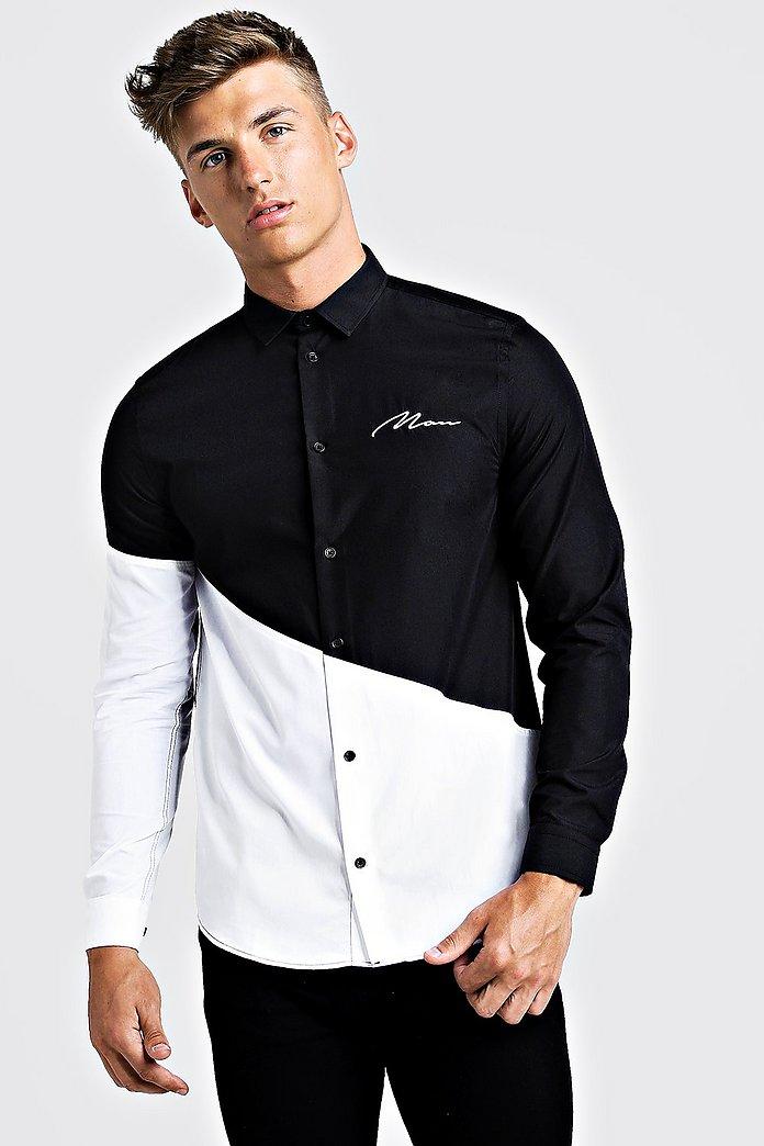 MAN Colour Block Long Sleeve Smart Shirt   boohoo