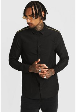 Mens Black Smart Long Sleeve Shirt With Sequin Tape