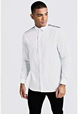 Mens White Smart Long Sleeve Shirt With Sequin Tape