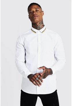 White MAN Long Sleeve Smart Shirt With Gold Tipping