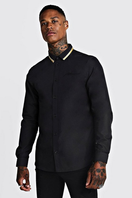 Black MAN Long Sleeve Smart Shirt With Gold Tipping