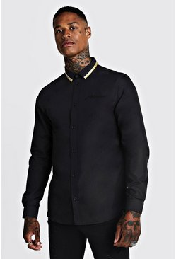 Mens Black MAN Long Sleeve Smart Shirt With Gold Tipping