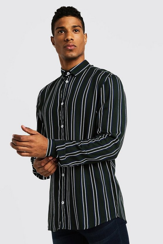 Green Vertical Stripe Long Sleeve Shirt
