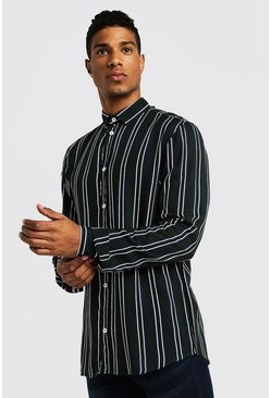 Mens Green Vertical Stripe Long Sleeve Shirt