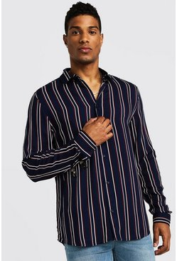 Mens Navy Vertical Stripe Long Sleeve Shirt