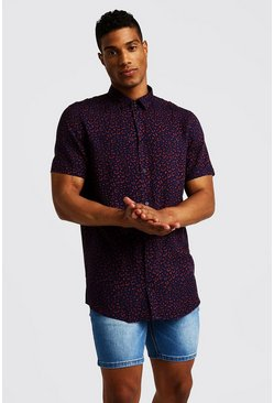 Herr Navy Animal Print Short Sleeve Shirt