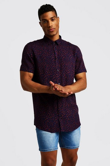 Navy Animal Print Short Sleeve Shirt