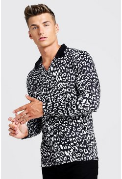 Mens Black Animal Print Long Sleeve Muscle Fit Revere Shirt