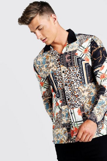 Mens Black Patchwork Print Long Sleeve Muscle Fit Revere Shirt