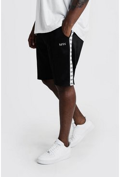 Black Big & Tall Tricot Shorts With MAN Tape