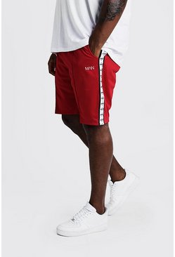 Mens Red Big & Tall Tricot Shorts With MAN Tape