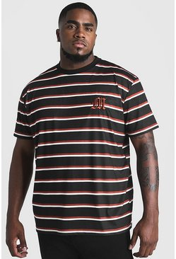 Mens Rust Big & Tall Stripe T-Shirt With M Embroidery