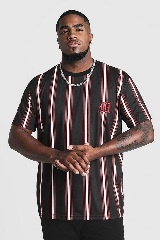 Black Big & Tall Stripe T-Shirt With M Embroidery