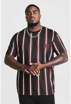 Herr Black Big & Tall Stripe T-Shirt With M Embroidery