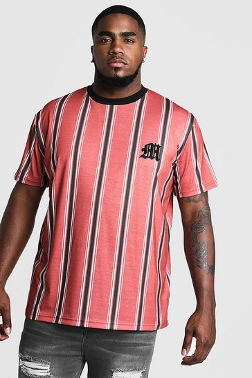 Mens Red Big & Tall Stripe T-Shirt With M Embroidery