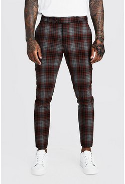 Mens Orange Check Skinny Fit Cropped Formal Trouser