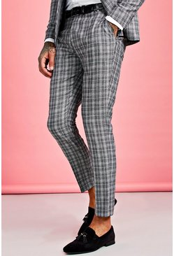 Grey Skinny Fit Jaspe Check Suit Pants