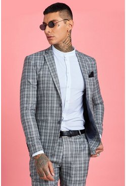 Mens Grey Jaspe Skinny Fit Check Suit Jacket