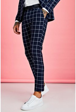 Navy Skinny Large Scale Windowpane Check Suit Trouser