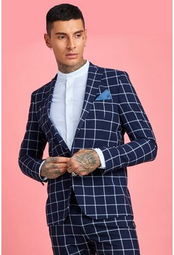 Navy Large Scale Windowpane Check Skinny Suit Jacket