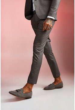Mens Brown Heritage Gingham Skinny Fit Suit Trouser