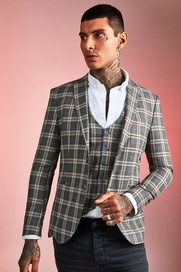 Mens Brown Heritage Check Skinny Fit Suit Jacket