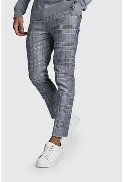 Mens Navy Prince Of Wales Skinny Fit Check Trouser