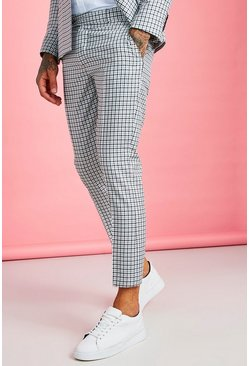 Mens Black Gingham Skinny Fit Cropped Suit Trouser