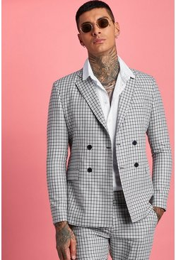 Herr Black Gingham Double Breasted Suit Jacket