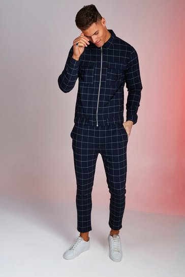 Mens Navy Windowpane Check Smart Twinset
