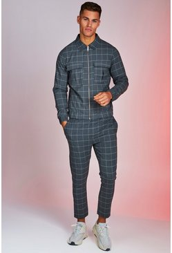 Grey Windowpane Check Smart Twinset