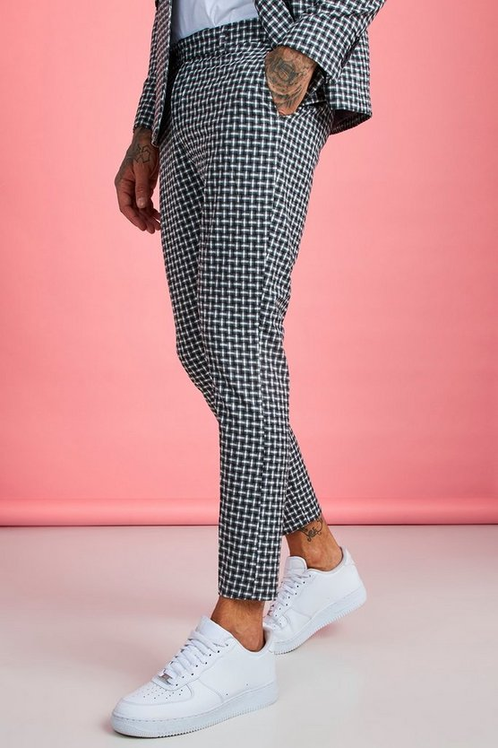 check-detail-smart-tailored-trouser by boohoo