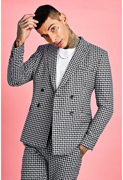 Mens Black Check Detail Boxy Double Breasted Jacket